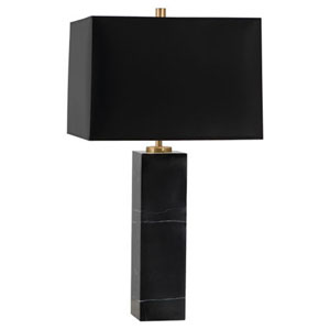 Jonathan Adler Canaan Black Marble One Light Table Lamp With Black Shade