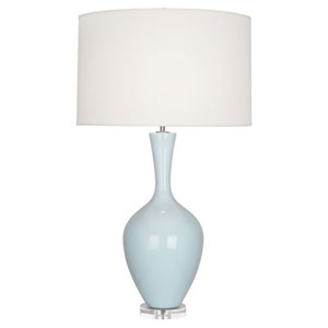 Audrey Polished Nickel and Baby Blue One-Light Table Lamp