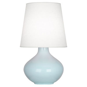 June Baby Blue One-Light Table Lamp with Oyster Linen Shade