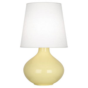 June Butter Glazed Ceramic One-Light Table Lamp with Oyster Linen Shade