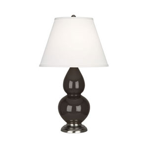 Small Double Gourd Coffee and Silver One-Light Table Lamp with Empire Shade