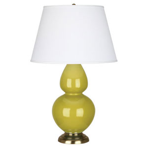 Double Gourd Citron and Antique Brass One-Light Table Lamp with Empire Shade
