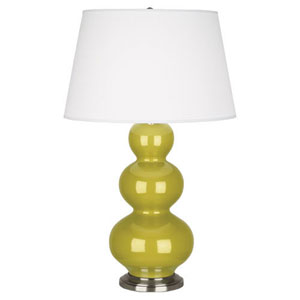 Triple Gourd Citron Ceramic and Antique Silver One-Light Table Lamp