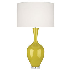 Audrey Polished Nickel and Citron One-Light Table Lamp