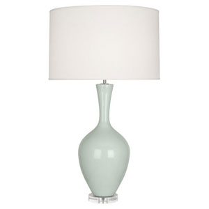 Audrey Polished Nickel and Celadon One-Light Table Lamp