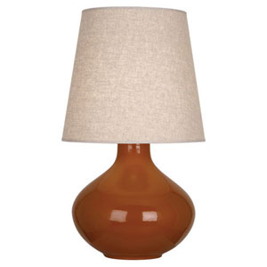 June Cinnamon One-Light Table Lamp with Buff Linen Shade