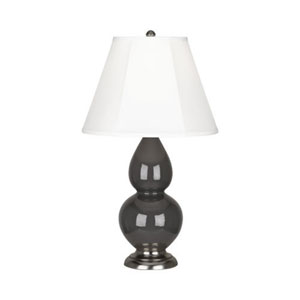 Small Double Gourd Charcoal and Silver One-Light Table Lamp with Bell Shade