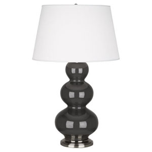Triple Gourd Charcoal and Antique Silver One-Light Table Lamp