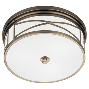 Chase Dark Antique Nickel Three-Light Flush Mount