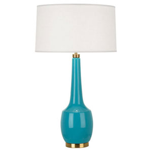 Delilah Egg Blue and Antique Brass One-Light Table Lamp