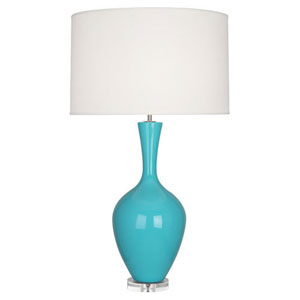 Audrey Polished Nickel and Egg Blue One-Light Table Lamp