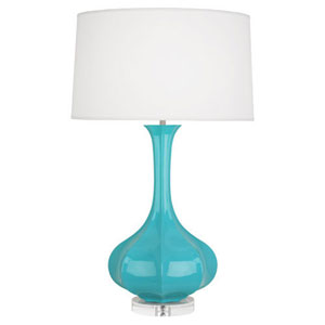 Pike Egg Blue and Polished Nickel One-Light Table Lamp
