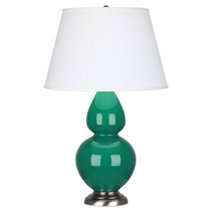 Double Gourd Emerald Green and Silver One-Light Table Lamp with Empire Shade