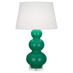 Triple Gourd Emerald Green Ceramic One-Light Table Lamp