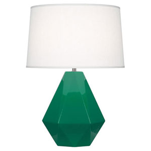 Delta Emerald Green and Polished Nickel One-Light Table Lamp