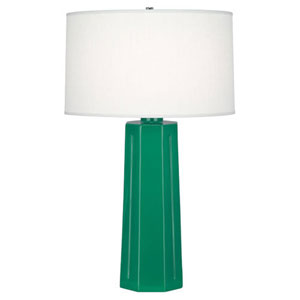 Mason Emerald Green And Polished Nickel One Light Table Lamp