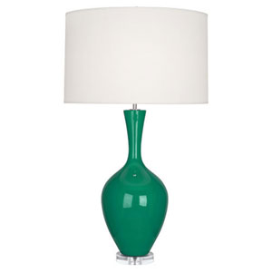 Audrey Polished Nickel and Emerald Green One-Light Table Lamp