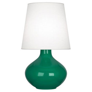 June Polished Nickel and Emerald Green One-Light Lamp with Oyster Linen Shade