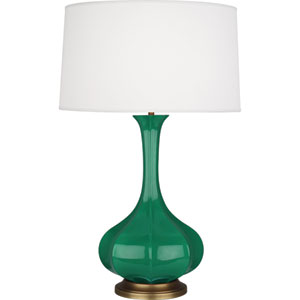 Pike Emerald and Aged Brass One-Light Ceramic Table Lamp
