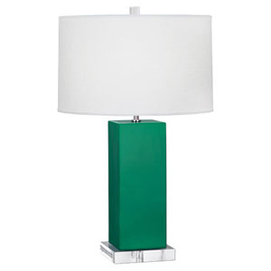 Harvey Emerald Green and Polished Nickel 33-Inch One-Light Table Lamp
