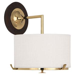 Edwin Polished Brass and Dark Walnut One-Light Sconce