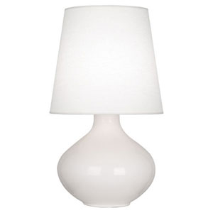 June Polished Nickel and Lily One-Light Table Lamp with Oyster Linen Shade
