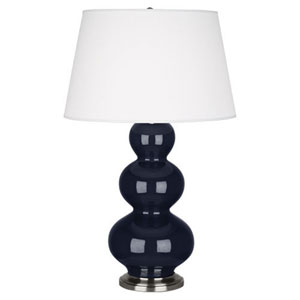 Triple Gourd Midnight Blue and Antique Silver One-Light Table Lamp