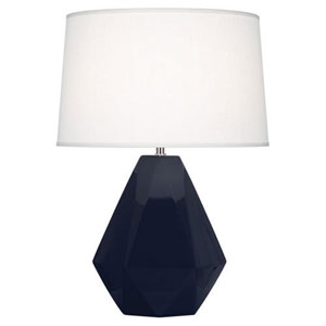 Delta Midnight Blue and Polished Nickel One-Light Table Lamp