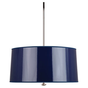 Penelope Navy and Polished Nickel Three-Light Drum Pendant