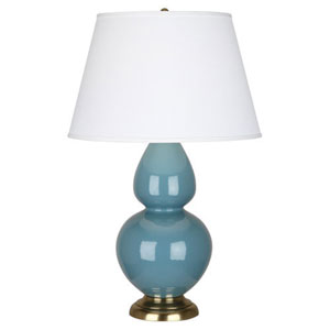 Double Gourd Steel Blue and Antique Brass One-Light Lamp with Empire Shade