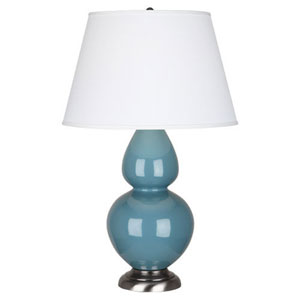 Double Gourd Steel Blue and Silver One-Light Table Lamp with Empire Shade