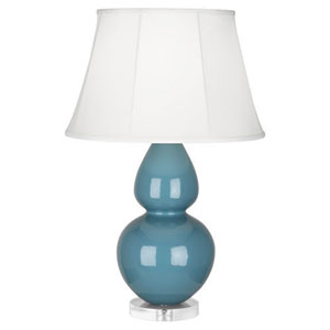 Double Gourd Steel Blue One-Light Table Lamp with Bell Shade