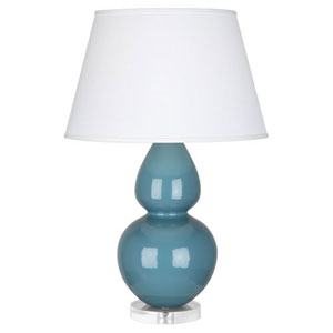 Double Gourd Steel Blue One-Light Table Lamp with Empire Shade