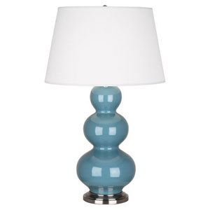 Triple Gourd Steel Blue and Antique Silver One-Light Table Lamp