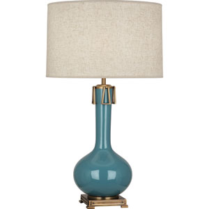 Athe Ocean Blue and Aged Brass One-Light Ceramic Table Lamp