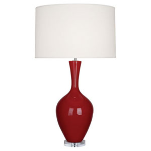 Audrey Polished Nickel and Oxblood One-Light Table Lamp