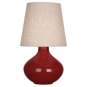 June Polished Nickel and Oxblood One-Light Table Lamp with Buff Linen Shade