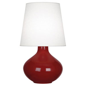 June Polished Nickel and Oxblood One-Light Lamp with Oyster Linen Shade