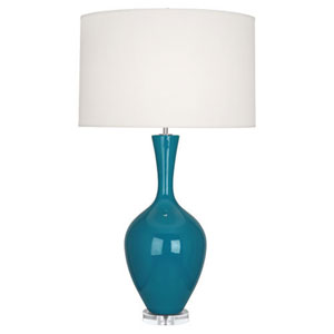 Audrey Polished Nickel and Peacock One-Light Table Lamp