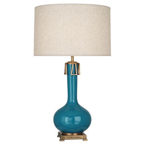 Athena Peacock and Aged Brass One-Light Table Lamp