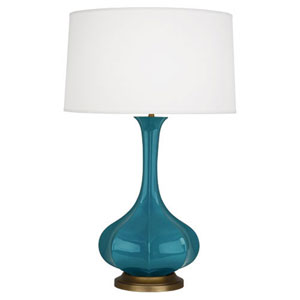 Pike Peacock and Aged Brass One-Light Table Lamp