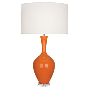Audrey Polished Nickel and Pumpkin One-Light Table Lamp