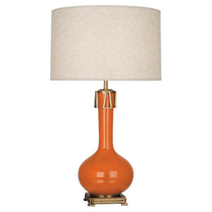 Athena Pumpkin and Aged Brass One-Light Table Lamp