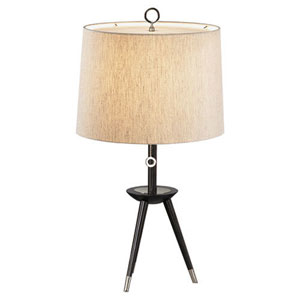 Jonathan Adler Ventana Ebony Wood and Polished Nickel One-Light Table Lamp