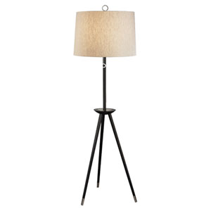Jonathan Adler Ventana Ebony Wood and Polished Nickel One-Light Floor Lamp