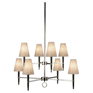 Jonathan Adler Ventana Ebony Wood and Nickel Eight-Light Tiered Chandelier