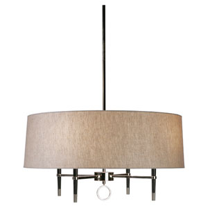 Jonathan Adler Ventana Polished Nickel and Ebony Wood Four-Light Chandelier