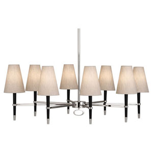 Jonathan Adler Ventana Ebony Wood and Polished Nickel Eight-Light Chandelier