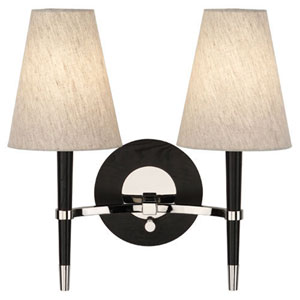 Jonathan Adler Ventana Ebonized Wood and Polished Nickel Two-Light Sconce