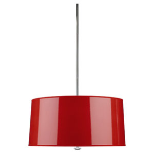 Penelope Polished Nickel Three-Light Drum Pendant with Red Shade